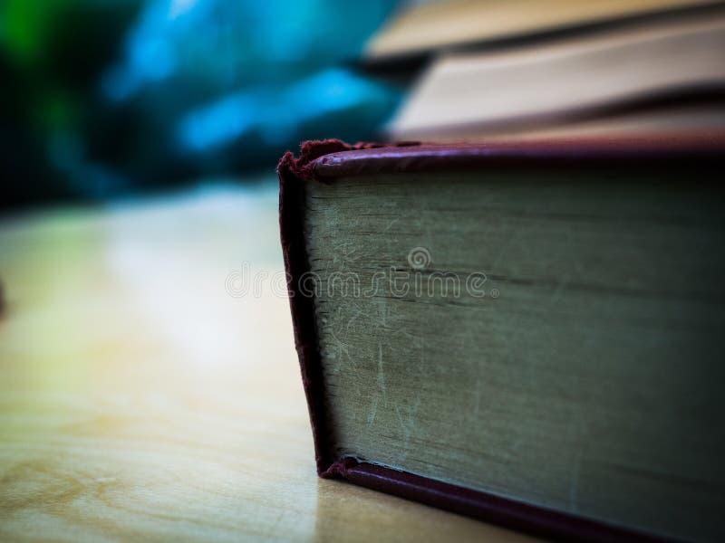 Rotes Abdeckungsbuch des Unterseitendorns auf der hölzernen Tabelle lizenzfreie stockfotos