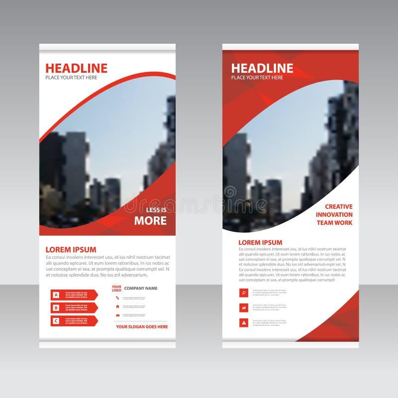 Rotes abstraktes Geschäft rollen oben flache Designschablone der Fahne, Abstr. lizenzfreie abbildung