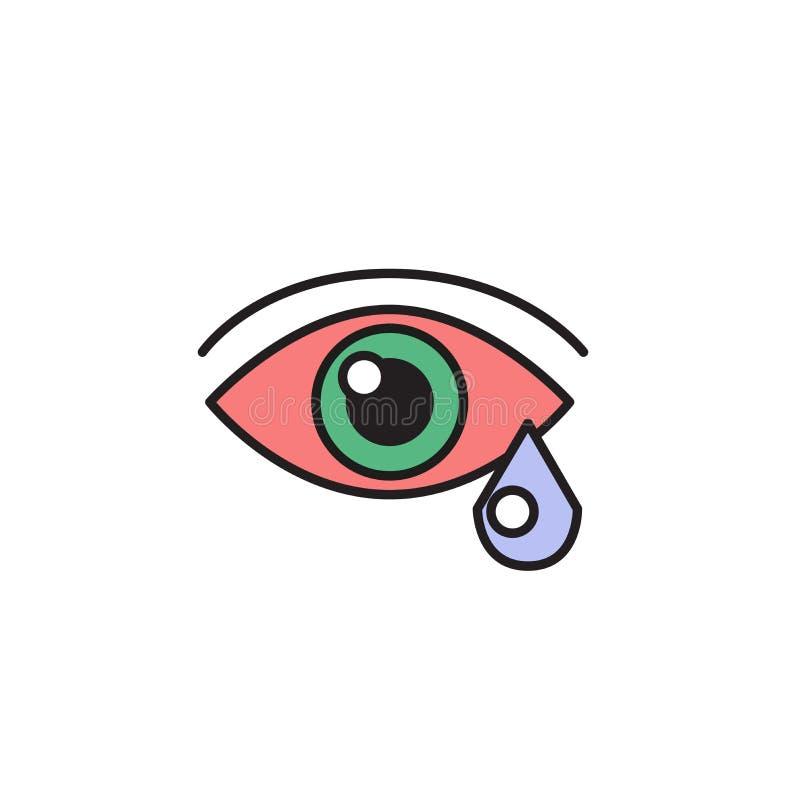 Rotes Auge und Träne Allergie, Krankheit Karikaturdesignikone Flache Vektorillustration Getrennt auf weißem Hintergrund lizenzfreie abbildung