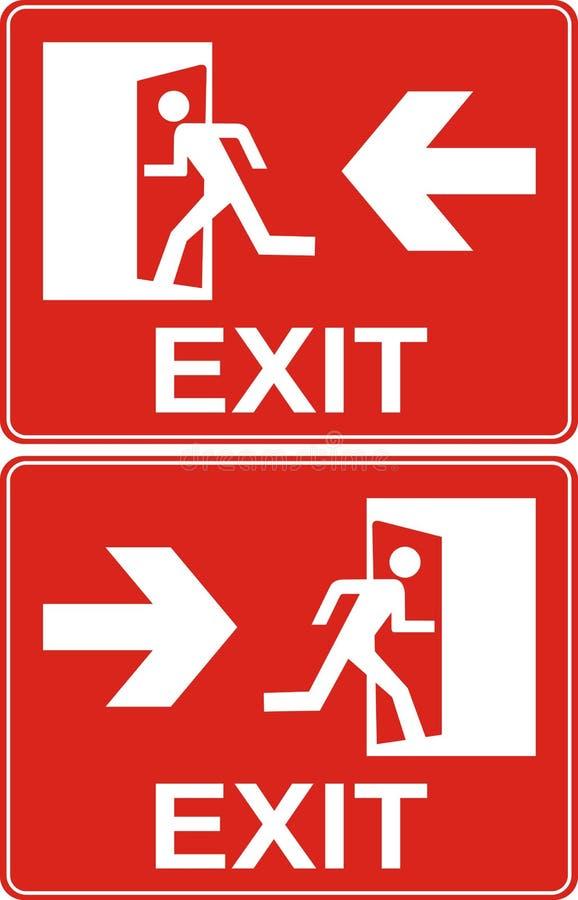 Rotes Ausgangszeichen Notnotausgangtür und Ausgangstür Aufkleberesprit lizenzfreie abbildung