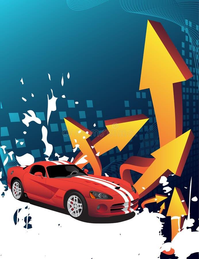 Rotes Auto auf dem abstrakten Hintergrund vektor abbildung