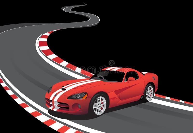Rotes Auto auf der laufenden Spur lizenzfreie abbildung