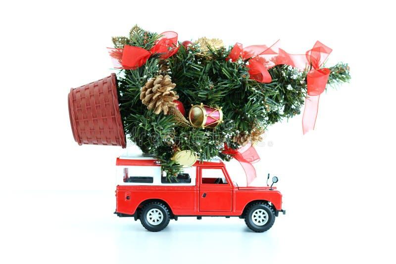Rotes Auto, das eine aufwändige Weihnachtskiefer auf weißem Hintergrund transportiert lizenzfreie stockfotos