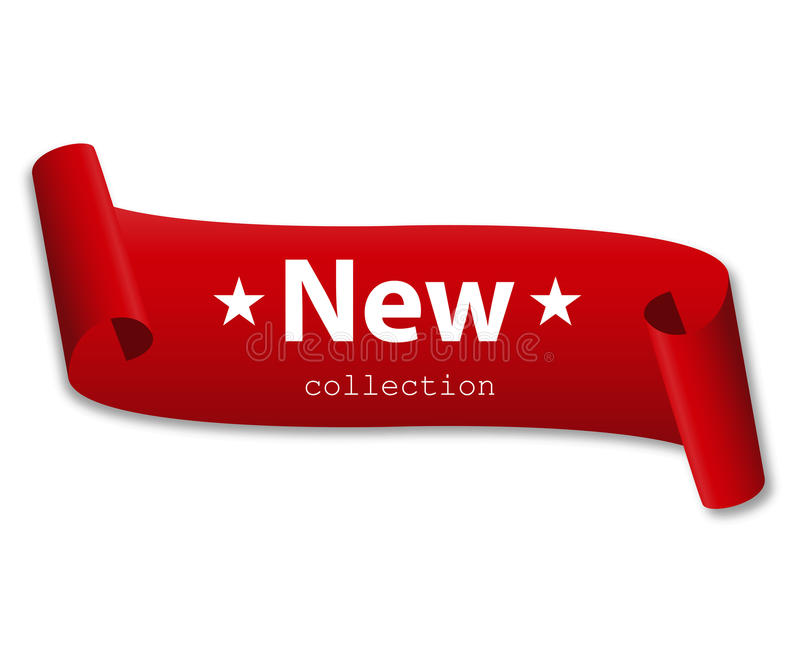 Rotes Band mit der neuen Sammlung der Wörter vektor abbildung
