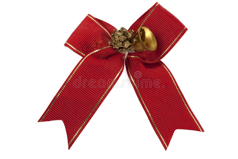Rotes Band mit einer Glocke stockfoto