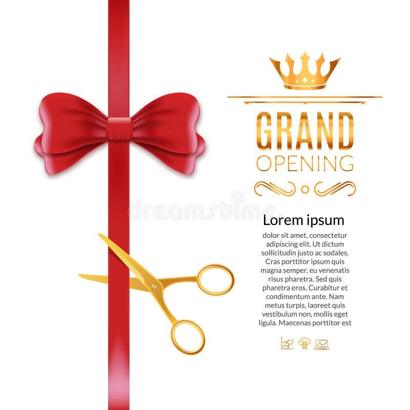 Rotes Band und Bogen der festlichen Eröffnung Offene Zeremonie scissor Bandschnitthintergrund stock abbildung