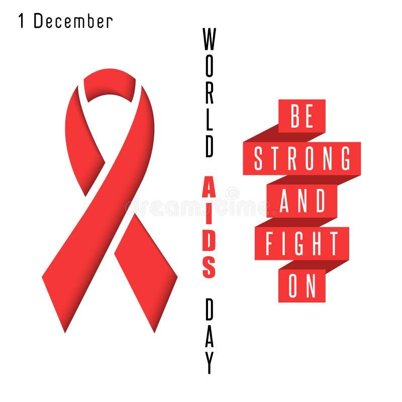 Rotes Bandsymbol unterstützt Welttagesplakat, das HIVe-POSITIV Syndrom, medizinische Fahne des Modellgrafikdesigns vektor abbildung