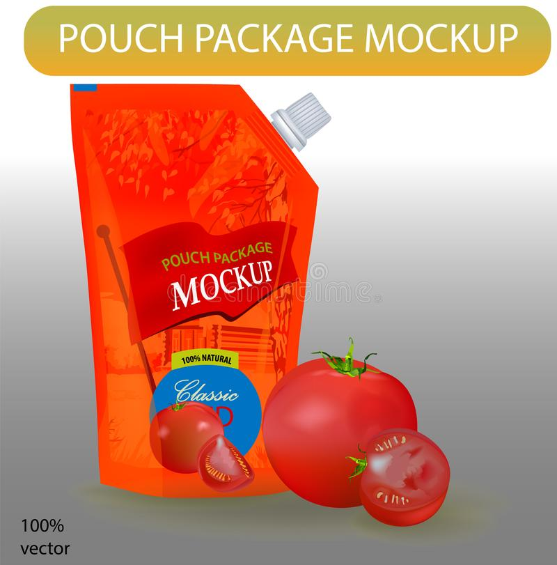 Rotes Beutelketschup-Paketmodell lizenzfreie abbildung