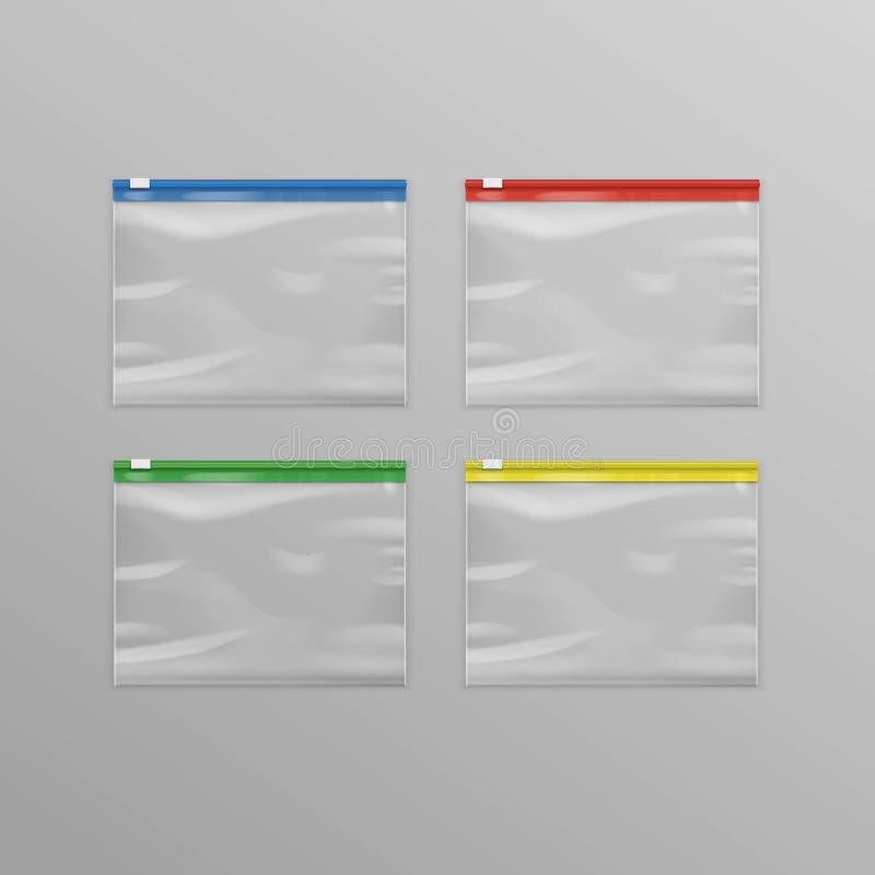Rotes blaues Grün-Gelb leere transparente Plastikreißverschluss-Siegeltaschen lizenzfreie abbildung