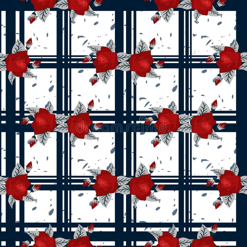 Rotes Blumenmuster der Stickerei und nahtloses Muster des blauen Schottenstoffs Gut für Tischdecke, Gewebe, Gewebe stockbild