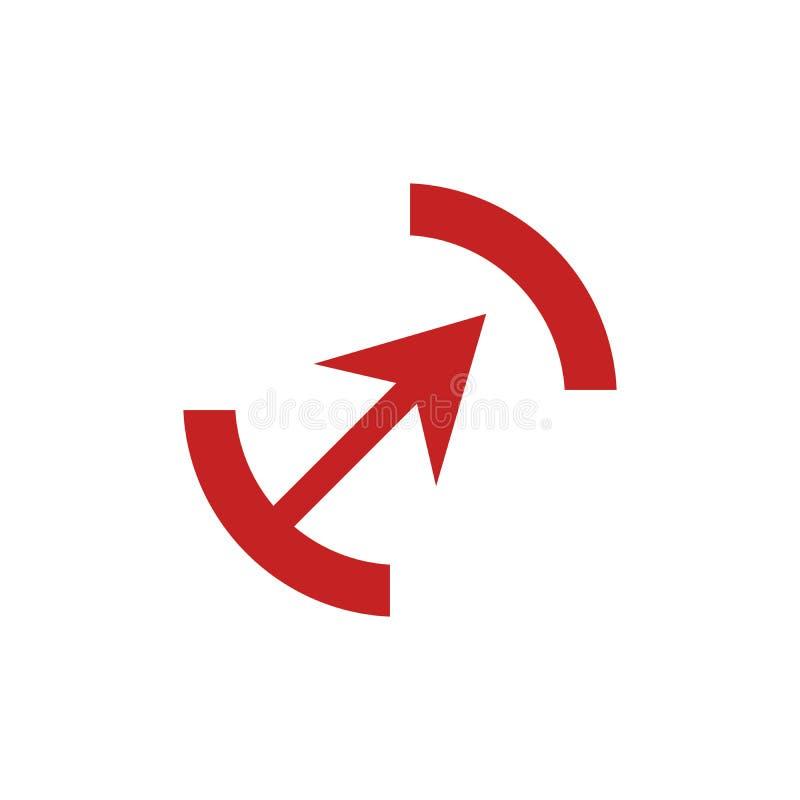 Rotes Bogensymbol im trendigen, flachen Stil, isoliert auf grauem Hintergrund Pfeilsymbol für Ihre Website-Design, Logo, App, Ben vektor abbildung