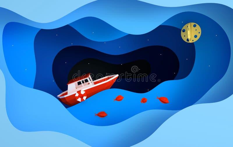 Rotes Bootspapiersegeln im Ozean oder im Meer, Sterne, Mond, Fisch, Nachtfahrtkonzept Blaue Meereswellenschichten Moderne Papierk stock abbildung