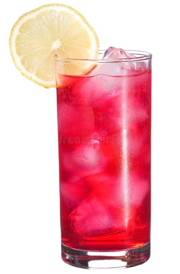 Rotes Cocktail mit Zitrone lizenzfreies stockfoto