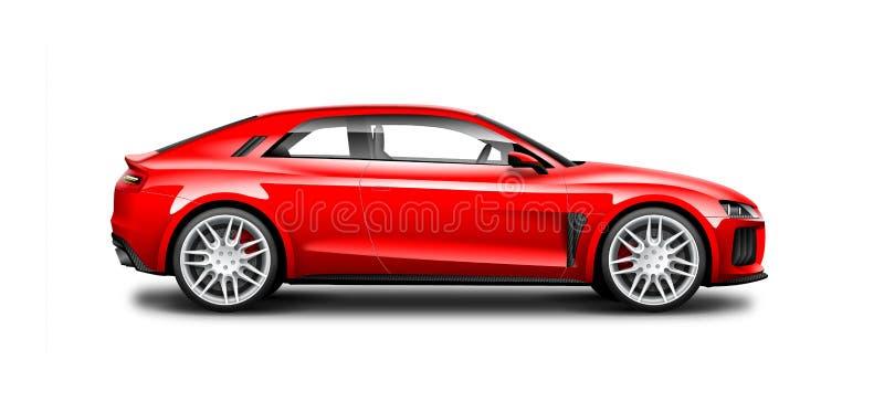 Rotes Coupé-sportliches Auto auf weißem Hintergrund Seitenansicht mit lokalisiertem Weg lizenzfreie abbildung