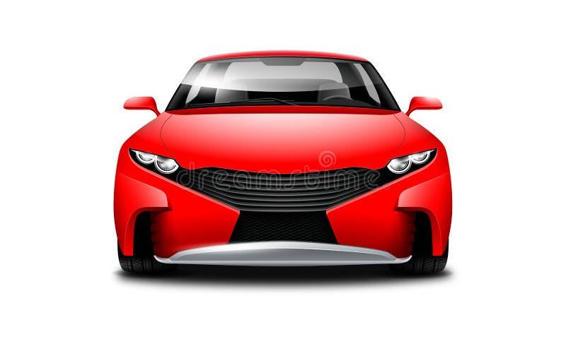 Rotes Coupé-sportliches Auto auf weißem Hintergrund Vorderansicht mit lokalisiertem Weg lizenzfreie abbildung