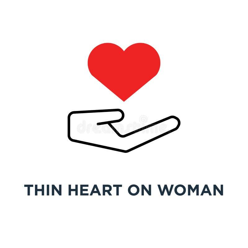 rotes dünnes Herz auf Frauenhandikone, Symbol der gemeinnütziger Organisation oder Mannanschlagarm wie Heiratantrag-Konzeptkontur lizenzfreie abbildung