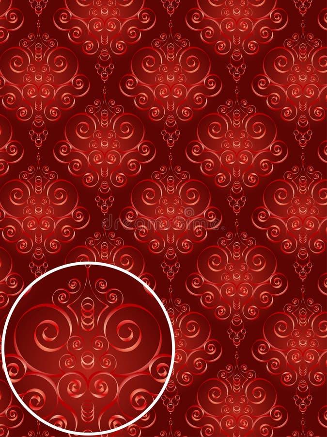 Rotes Damast-Art-Muster lizenzfreie abbildung