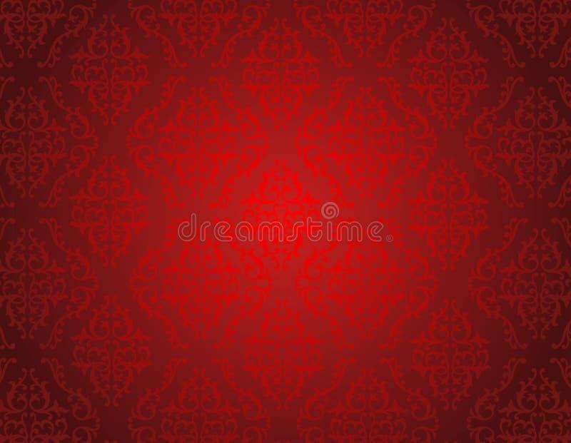 Rotes Damastmuster nahtlos lizenzfreie abbildung