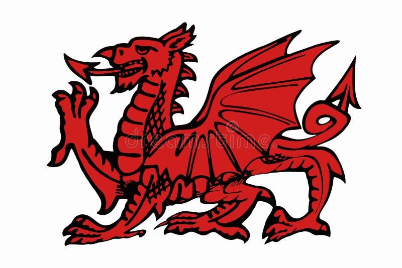Rotes Daragon von Wales - lokalisiert für Ausschnitt stock abbildung
