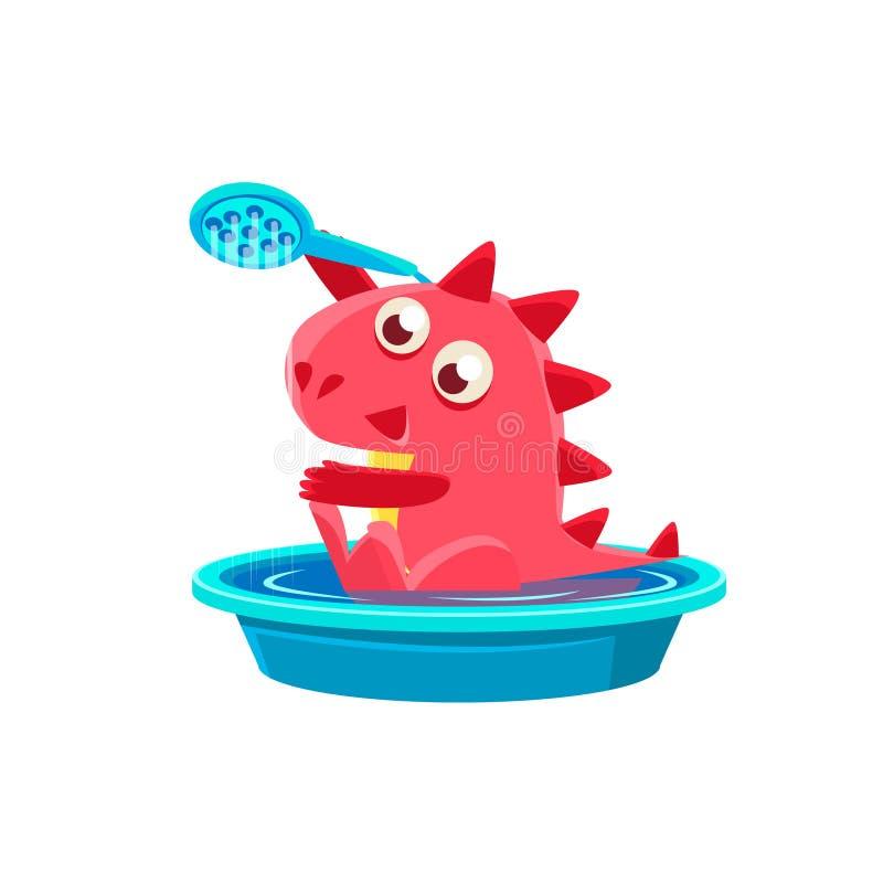 Rotes Dragon Taking ein Bad lizenzfreie abbildung
