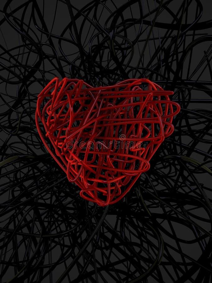 rotes Drahtinneres und schwarzer Drahthintergrund lizenzfreie abbildung