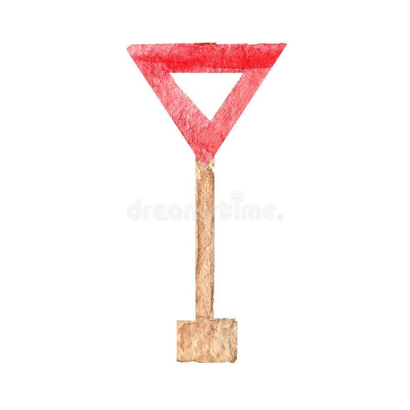 Rotes dreieckiges Verkehrsschild auf dem Posten im Aquarell nachgeben vektor abbildung