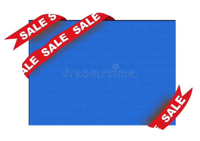 Rotes Eckfarbband mit Verkaufszeichen vektor abbildung