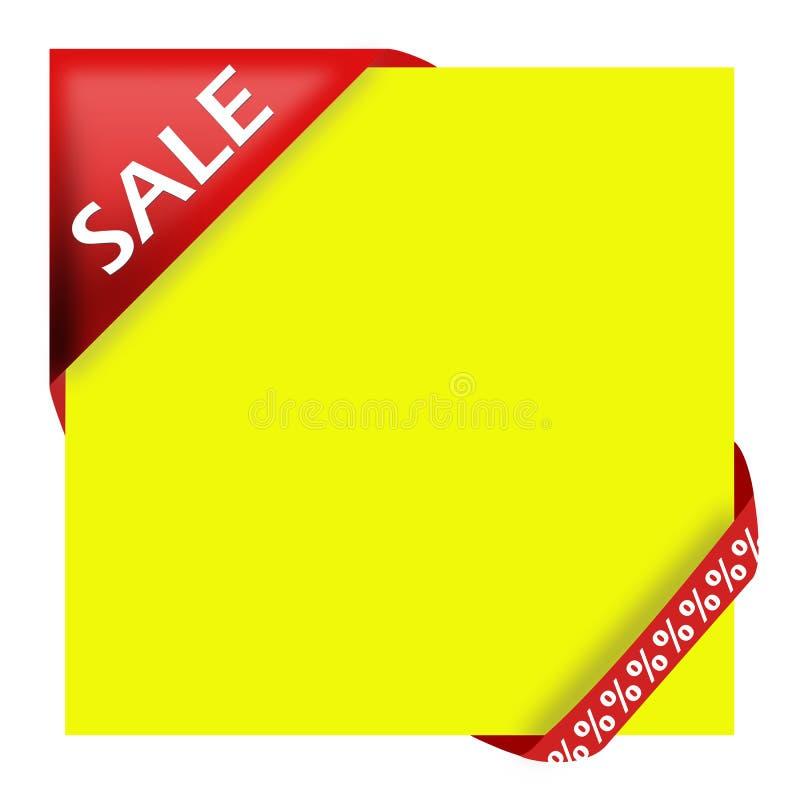 Rotes Eckfarbband mit Verkaufszeichen stock abbildung