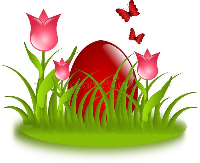 Rotes Ei im Gras mit Tulpen stock abbildung