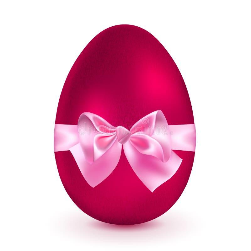 Rotes Ei mit rosa Bogen stock abbildung