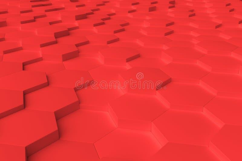 Rotes einfarbiges Hexagon deckt abstrakten Hintergrund mit Ziegeln stock abbildung
