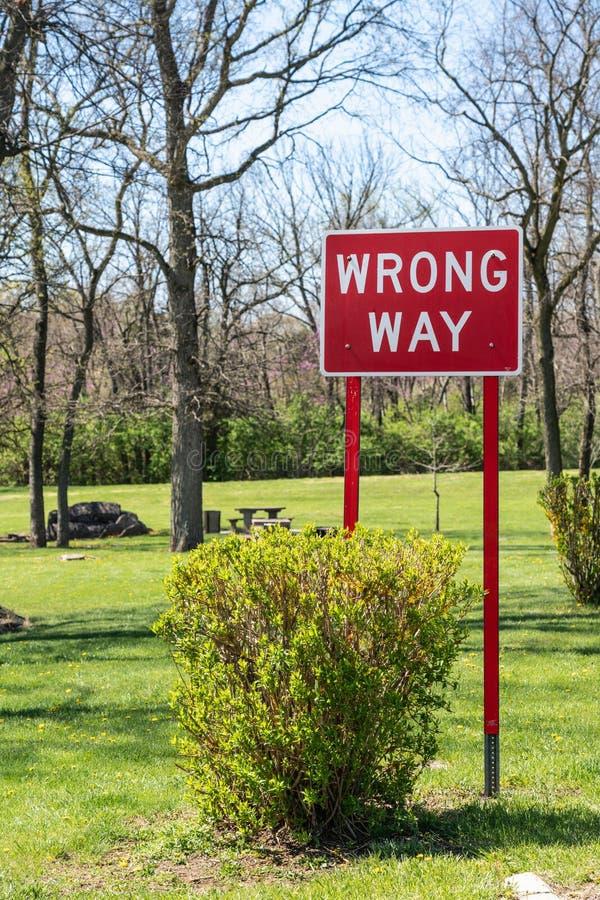 Rotes falsches Weisenzeichen mit hellgrünem Gras lizenzfreie stockfotografie