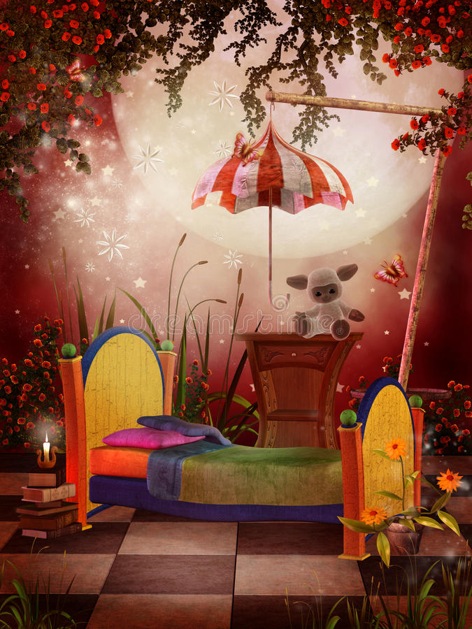 Rotes Fantasieschlafzimmer vektor abbildung