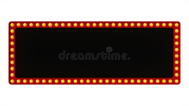 Rotes Festzeltlicht-Brettzeichen Retro- auf weißem Hintergrund Wiedergabe 3d stock abbildung
