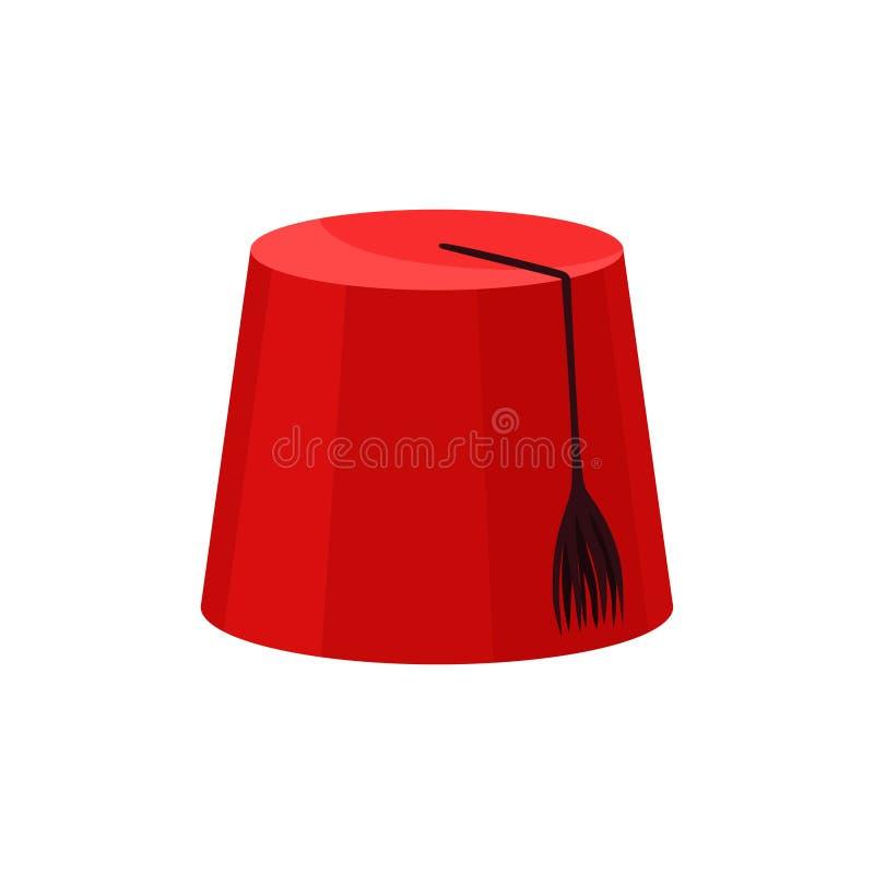 Rotes Fez mit schwarzer Quaste Nationaler türkischer Headwear Traditioneller geglaubter Kopfschmuck in der Zylinderform Flache Ve stock abbildung