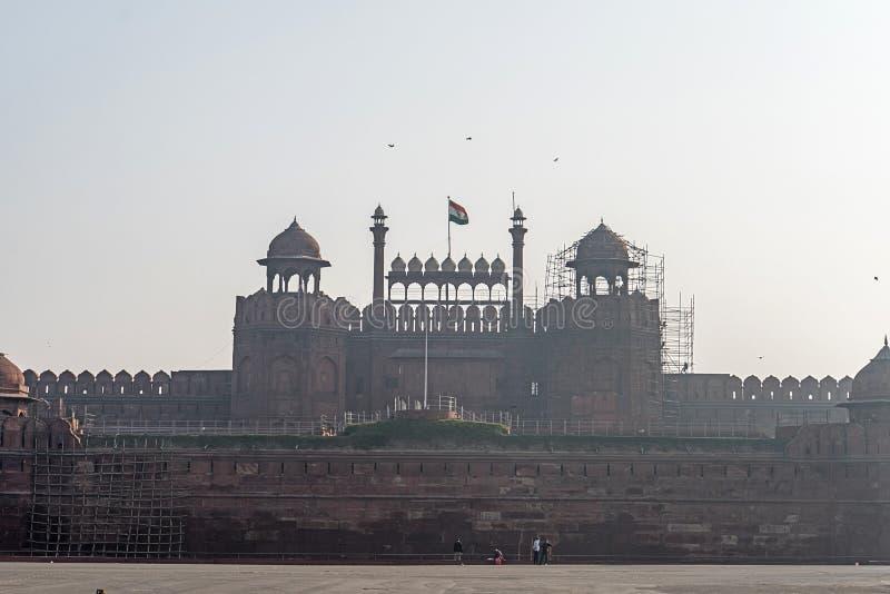 Rotes Fort im alten Bezirk Neu-Delhi, Indien 8. Januar 2018 lizenzfreies stockbild
