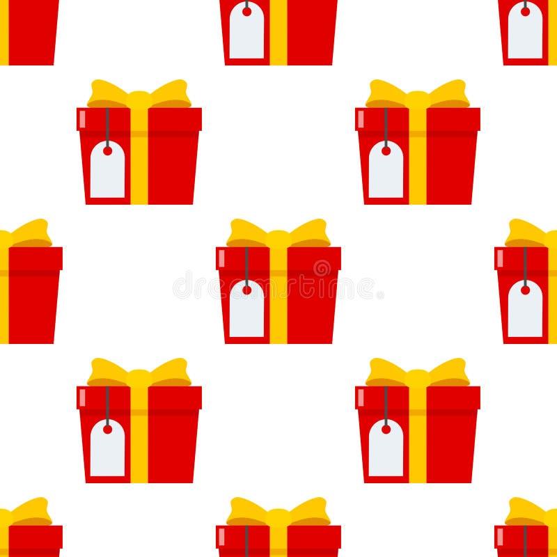 Rotes Geschenk mit leerer Aufkleber-nahtlosem Muster stock abbildung