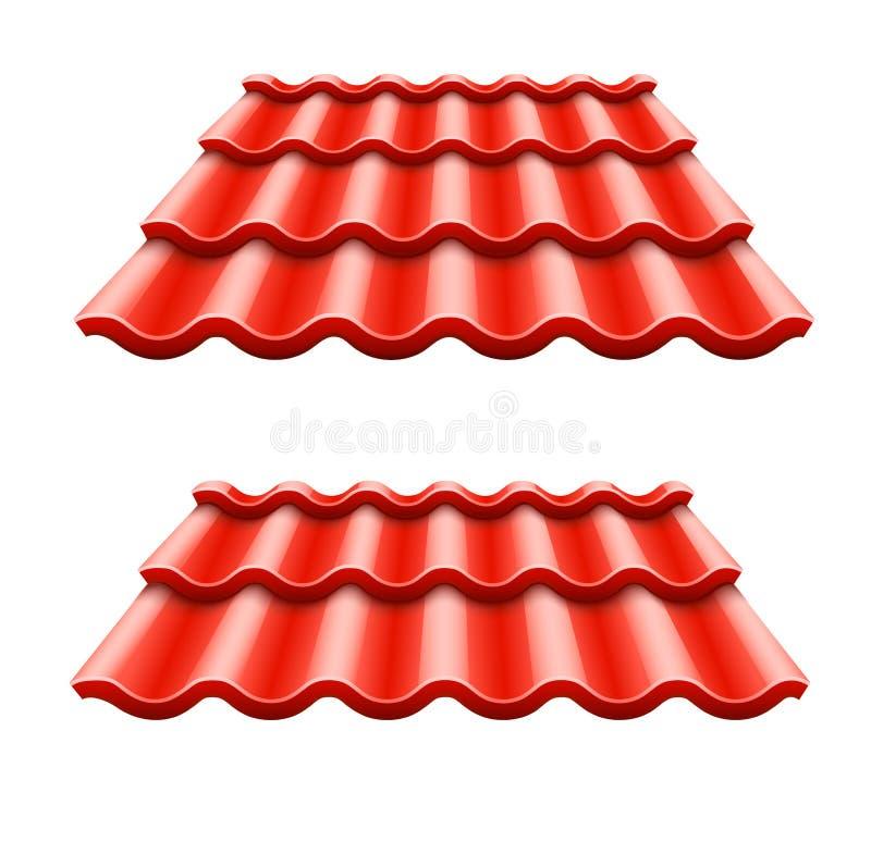 Rotes gewölbtes Fliesenelement des Dachs stock abbildung