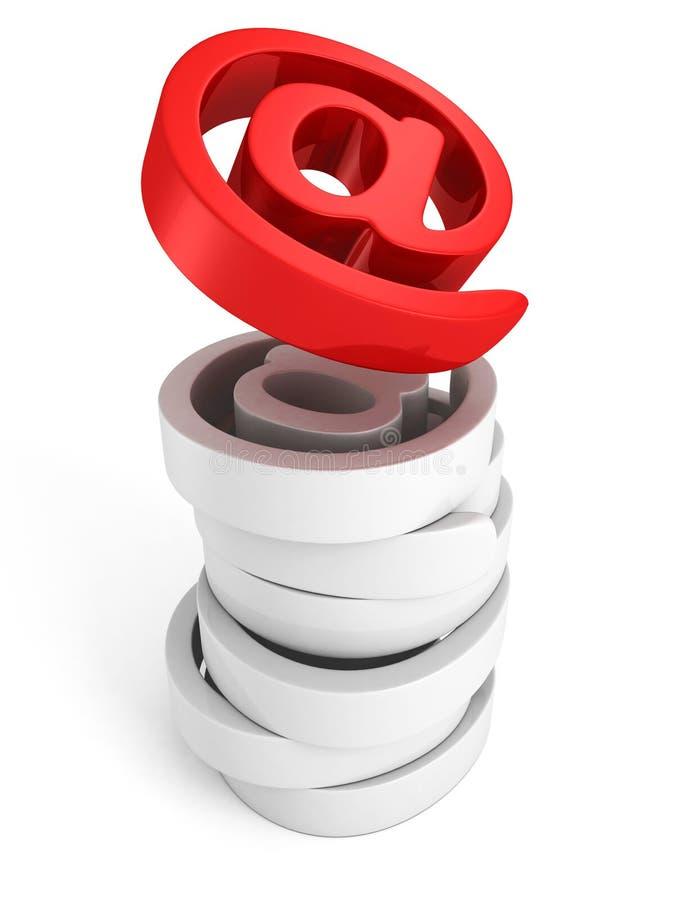 Rotes glänzendes am E-Mail-Ikonensymbol lizenzfreie abbildung