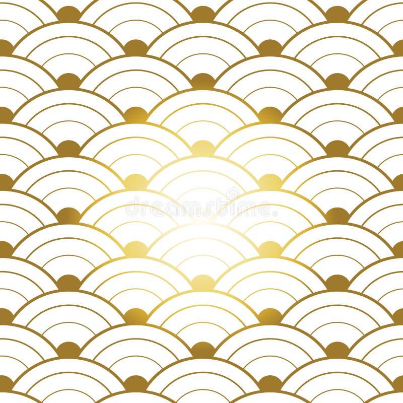 Rotes Goldnahtloses chinesisches Muster lizenzfreie abbildung
