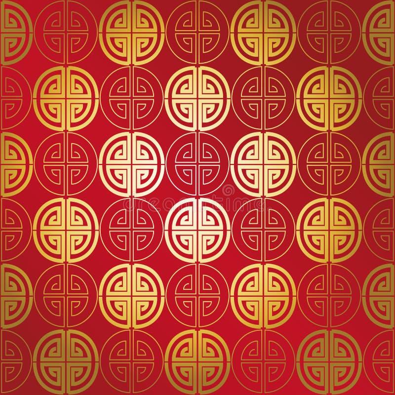 Rotes Goldnahtloses geometrisches chinesisches Muster vektor abbildung