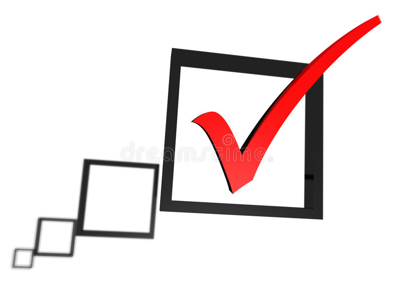 Rotes Häckchen in einer Checkkastenliste lizenzfreies stockbild