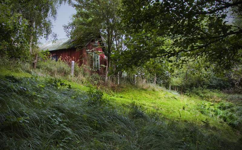 Download Rotes Häuschen stockfoto. Bild von häuschen, laub, grün - 12202032
