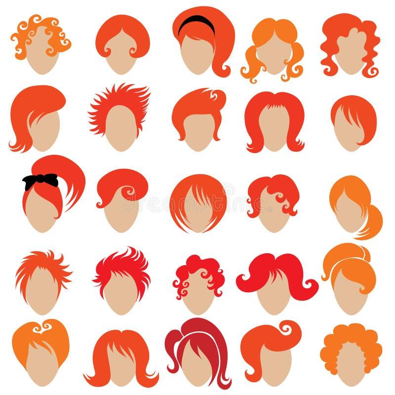 Rotes Haar, das 3 anredet vektor abbildung