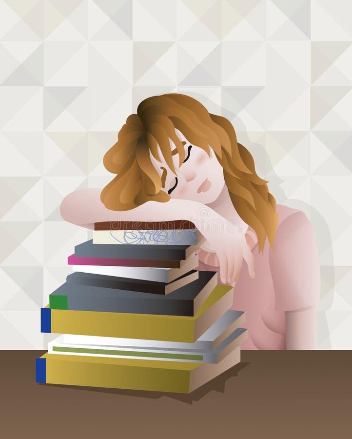 Rotes Haarmädchen erschöpft und satured, viele Bücher studierend vektor abbildung