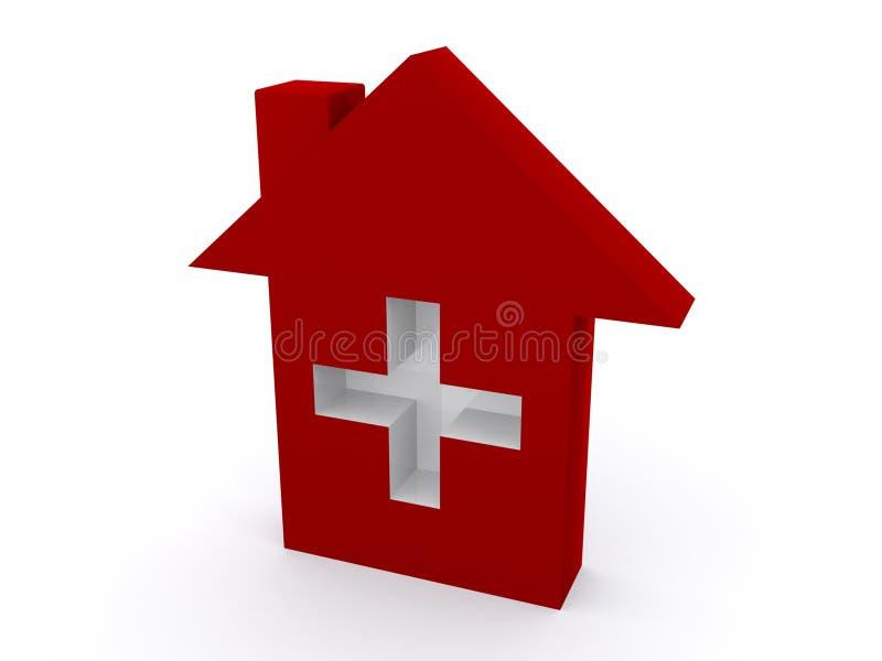 Rotes Haus mit weißem Kreuz lizenzfreie abbildung