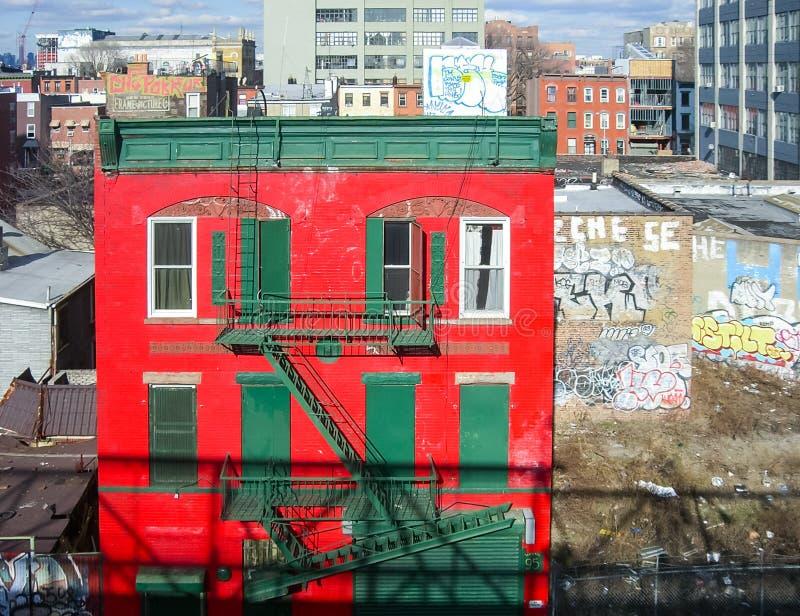 Rotes Haus in Williamsburg, Brooklyn lizenzfreie stockfotografie