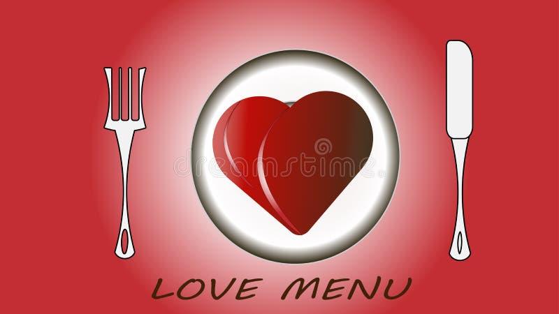 Rotes Herz auf einer Platte, Gabeln und einem Messer, ein Liebesmenü Vektorillustration - lieben Sie, Valentinsgruß ` s Tag vektor abbildung