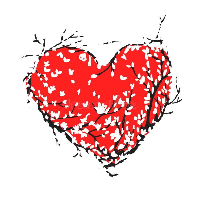 Rotes Herz des Valentinsgrußes gemacht von Kirschblüte-Baum für Ihr lizenzfreie abbildung