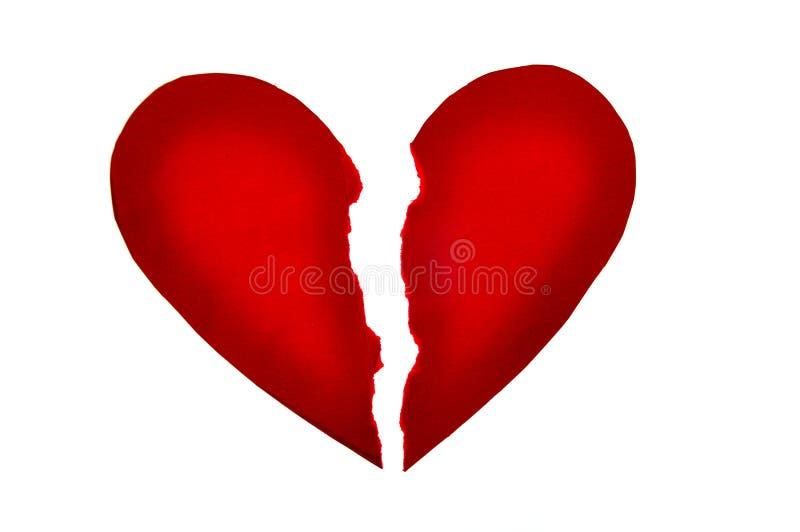 Rotes Herz gebrochen stockfoto